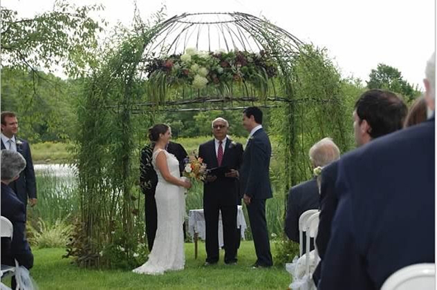 Chuppah leafed outEmily & Mike's wedding day
