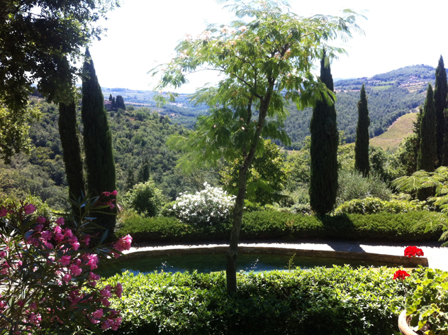 Garden in Tuscany: Cypress, Oleander white & pink, Mimosa tree and red geraniums
