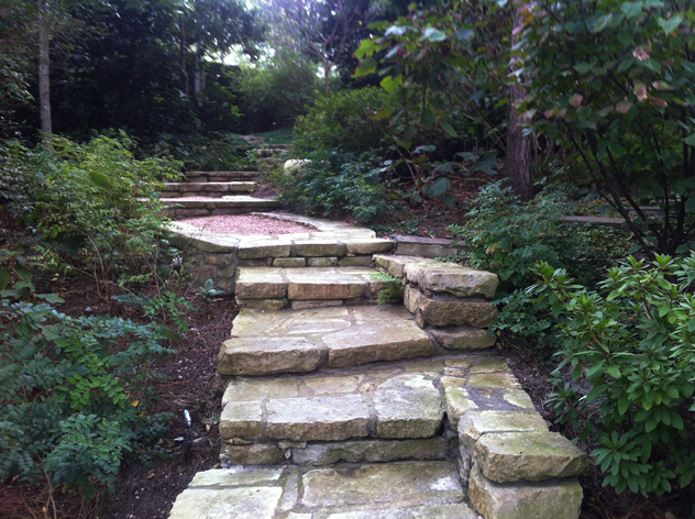 Stone staircase leading to different levels of the garden