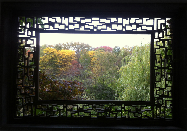 "Photo 9: Chinese open (""leaky"") window in the Scholar's Garden in Staten Island."