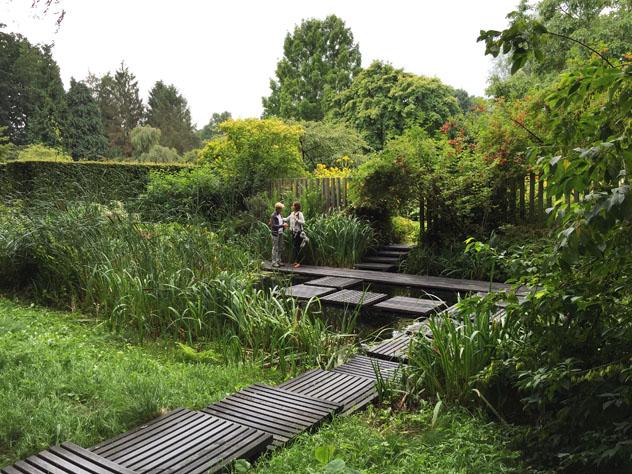 Modern recycled material floating paths through Marsh garden Gardeners garden