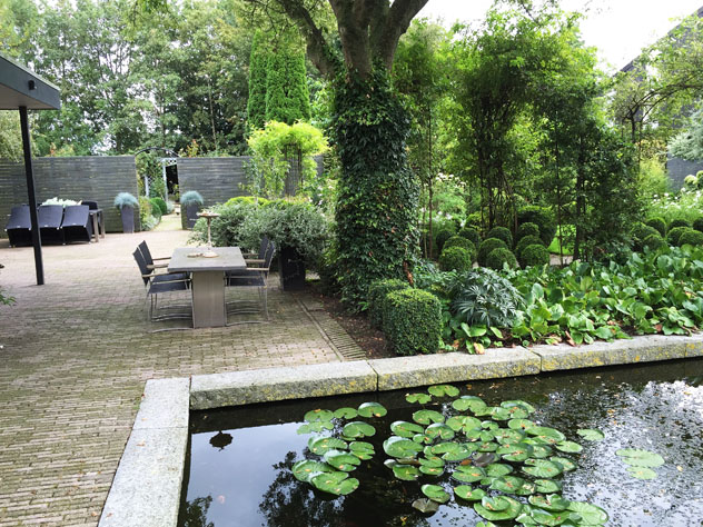 Courtyard abuts reflecting pool garden